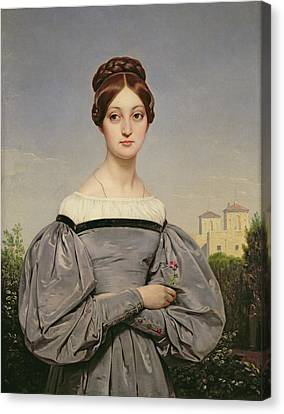 Portrait Of Louise Vernet Canvas Print by Emile Jean Horace Vernet