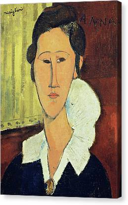 Portrait Of Madame Hanka Zborowska, 1917 Canvas Print by Amedeo Modigliani