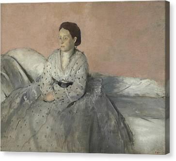Portrait Of Madame Rene De Gas Canvas Print by Edgar Degas