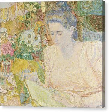 Portrait Of Marie Jeanette De Long Canvas Print by Jan Toorop
