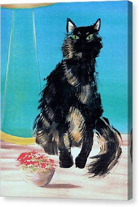 Canvas Print featuring the painting Portrait Of Muffin by Denise Fulmer