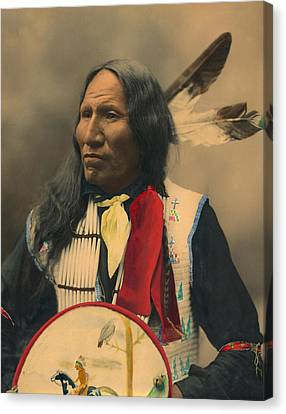 Portrait Of Oglala Sioux Chief Strikes With Nose Canvas Print