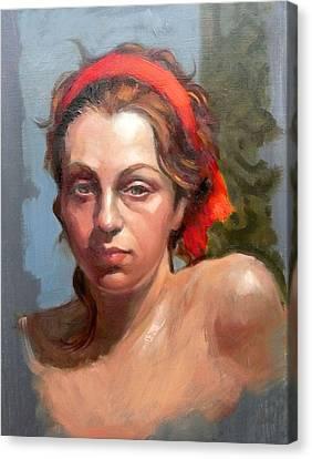 Portrait Of Phoebe Canvas Print by Roz McQuillan