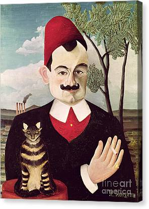 Portraits Of Cats Canvas Print - Portrait Of Pierre Loti by Henri Rousseau