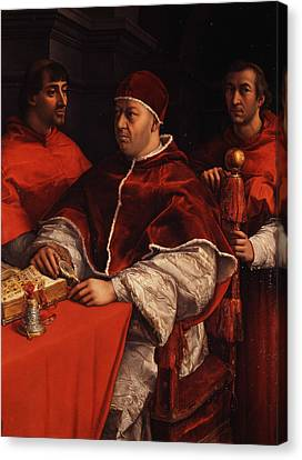 Portrait Of Pope Leo X With Cardinals Giulio De' Medici And Luigi De' Rossi  Canvas Print