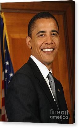 Barack Obama Canvas Print - Portrait Of President Barack Obama by Celestial Images