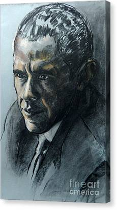 Charcoal Portrait Of President Obama Canvas Print by Greta Corens