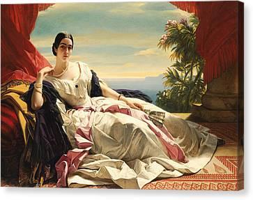 Red Leaf Canvas Print - Portrait Of Princess Leonilla by Franz Xaver Winterhalter