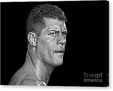 Portrait Of Pro Wrestler Cody Rhodes II Canvas Print by Jim Fitzpatrick