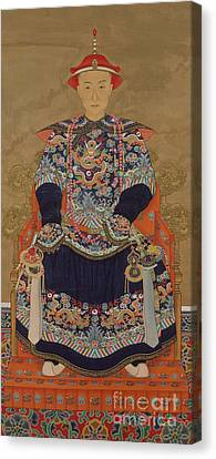 Youthful Canvas Print - Portrait Of Qianlong Emperor As A Young Man by Chinese School