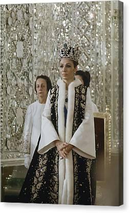 Portrait Of Queen Farah Pahlavi Dressed Canvas Print by James L Stanfield