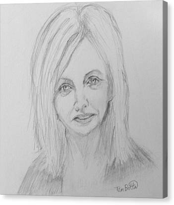 Portrait Of Rhonda Byrne Canvas Print by Tim Botta