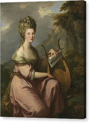 Portrait Of Sarah Harrop As A Muse Canvas Print by Angelica Kauffman