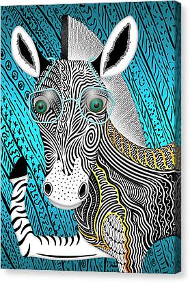 Portrait Of The Artist As A Young Zebra Canvas Print