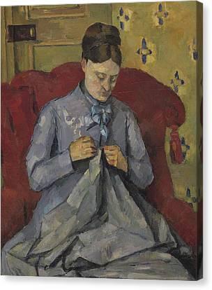 Portrait Of The Artist's Wife Canvas Print by Paul Cezanne