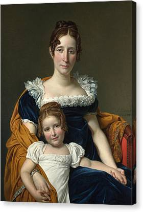 Portrait Of The Countess Vilain Xiiii And Her Daughter Louise Canvas Print by Jacques-Louis David