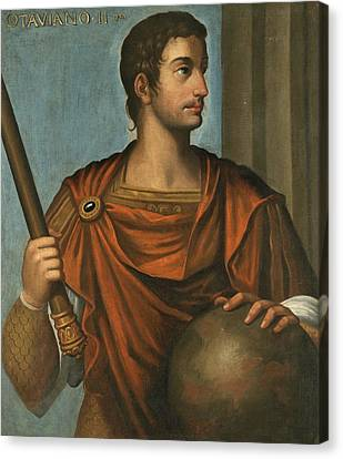 Portrait Of The Emperor Augustus Half Length Holding A Baton And Resting His Hand On A Globe Canvas Print by Follower of Bernardino Campi