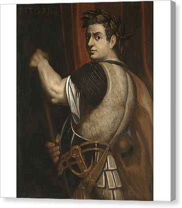 Portrait Of The Emperor Titus Three-quarter Length Wearing Armour And A Laurel Wreath And Holding A  Canvas Print by Follower of Bernardino Campi