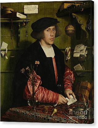 Portrait Of The Merchant George Gisze Canvas Print by Hans Holbein