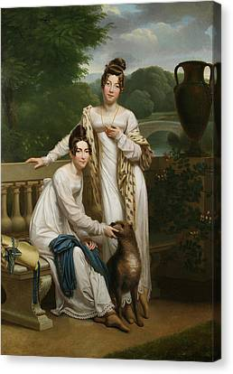 Portrait Of The Misses De Balleroy In A Landscape With A Dog Canvas Print by Henri Francois