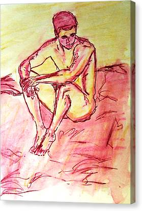 Portrait Of Thinking Young Male Seated Figure Nude Watercolor Painting In Purple Yellow Sketchy Canvas Print