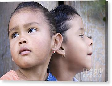 Portrait Of Two Panama Girls Canvas Print by Heiko Koehrer-Wagner