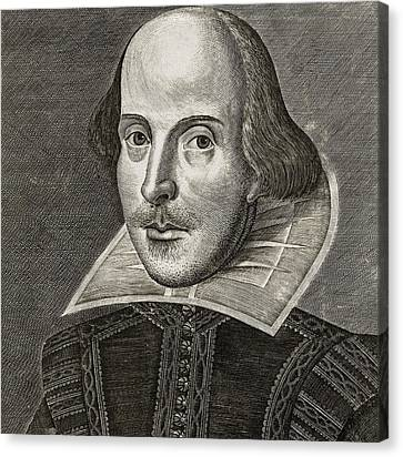 Portrait Of William Shakespeare Canvas Print by Martin the elder Droeshout