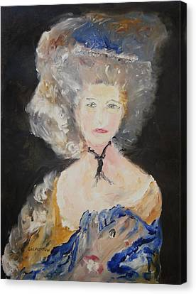 Portrait Of Woman In Blue Canvas Print by Edward Wolverton