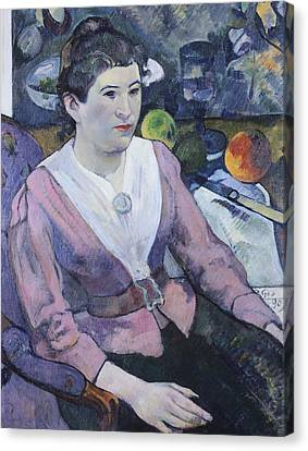 Portrait Of Woman With Still Life  Canvas Print by Paul Gauguin