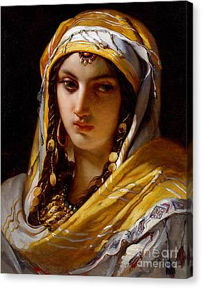 Portrait Of Young Oriental Woman Canvas Print by Jean-Francois Portaels