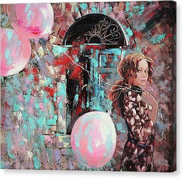 Canvas Print featuring the painting Portrait. Pink Dreams by Anastasija Kraineva