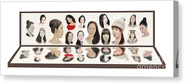 Profile Canvas Print - Portraits Of Lovely Asian Women  by Jim Fitzpatrick