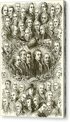 Portraits Of The Signers Of The Declaration Of Independence Canvas Print by American School