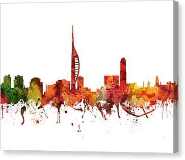 Portsmouth Cityscape 04 Canvas Print by Aged Pixel