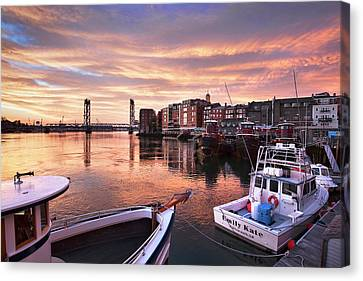 Portsmouth Harbor Brilliant Sunrise Canvas Print