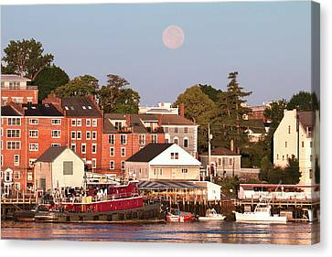 Sea Moon Full Moon Canvas Print - Portsmouth Tugs And Moon by Eric Gendron