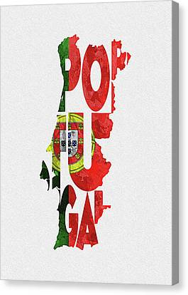 Dirty Canvas Print - Portugal Typographic Map Flag by Inspirowl Design