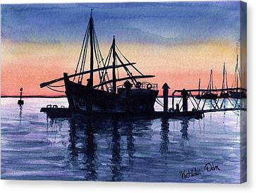 Canvas Print featuring the painting Portuguese Fishing Boat by Dora Hathazi Mendes
