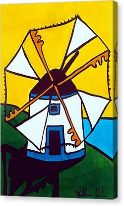 Canvas Print featuring the painting Portuguese Singing Windmill By Dora Hathazi Mendes by Dora Hathazi Mendes