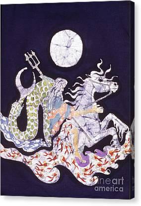 Poseidon Rides The Sea On A Moonlight Night Canvas Print by Carol  Law Conklin