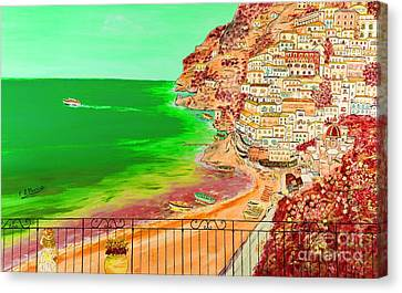 Canvas Print featuring the painting Positano Bay by Loredana Messina