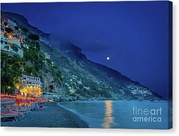 Positano Beach At Night Canvas Print