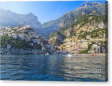 Historic Site Canvas Print - Positano Harbor View by George Oze