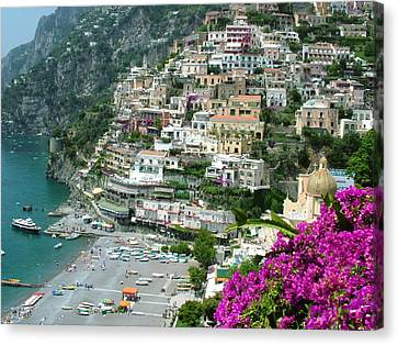 Canvas Print featuring the photograph Positano's Beach by Donna Corless