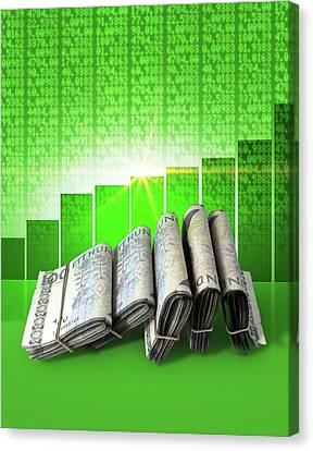 Positive Market Money Canvas Print