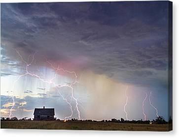 Positive Pink Lightning On The Prairie  Canvas Print