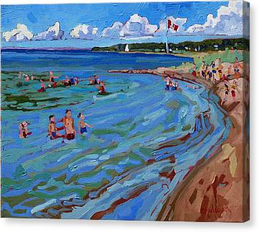 Positively Buoyant Beach People Canvas Print by Phil Chadwick