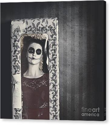 Possessed Sugar Skull Doll Inside Vintage Toy Box Canvas Print by Jorgo Photography - Wall Art Gallery