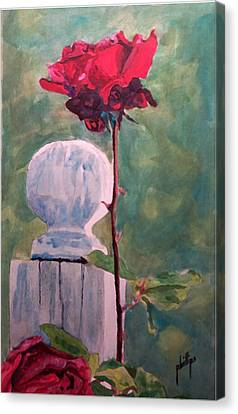 Canvas Print featuring the painting Post And The Rose by Jim Phillips