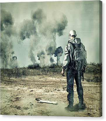 Post Apocalypse. Man In Gas Mask With Handgun And Back Pack In Apocalyptic World Looking On Explosio Canvas Print by Caio Caldas